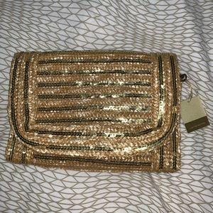 The Limited Gold Clinquant Hand Clutch Purse